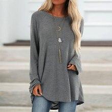 De algodón Casual tops y blusas para mujer otoño sólido túnica de manga larga, camisas de talla grande Vintage O cuello mujer blusa camisa 5XL