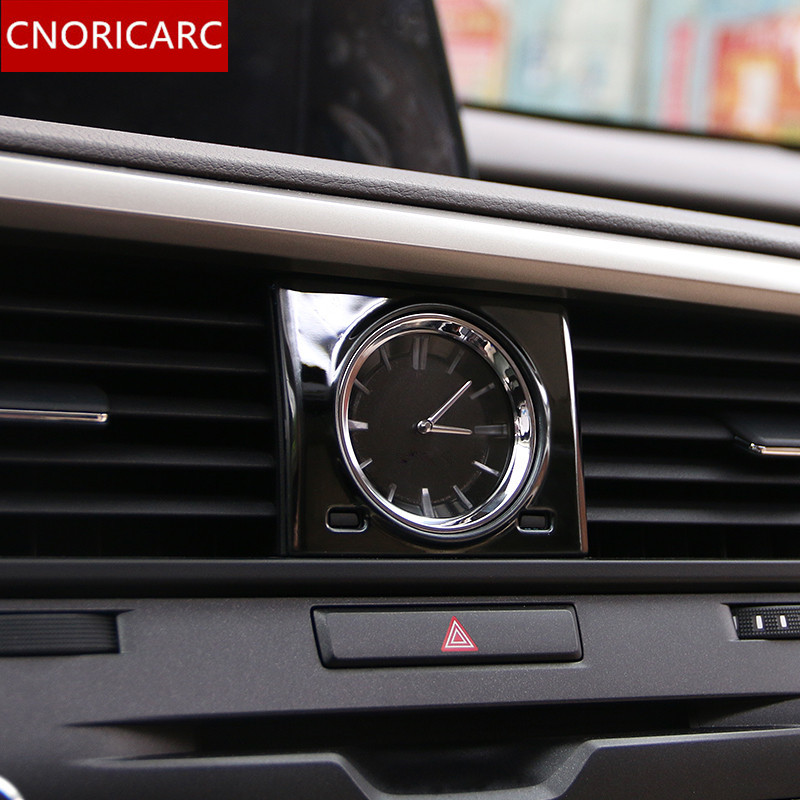 CNORICARC Stainless Steel Middle Control Stone Clock Table Trim Frame Decal For Lexus RX200t 450h 2016 Auto Interior Accessories