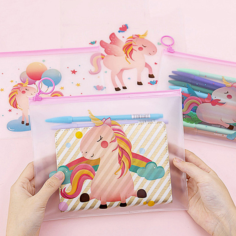 Cute Rainbow Unicorn File Bag Kawaii Transparent Document Bag Stationery File Folder For Kids Girls School Office Supplies