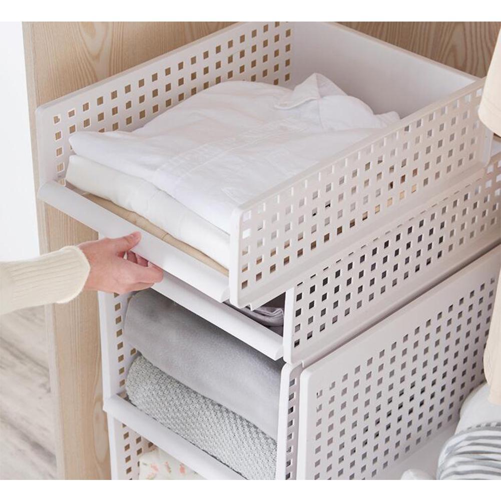 TWISTER.CK Foldable Stackable Drawer Type Storage Basket For Bedroom Wardrobe Closet Organize