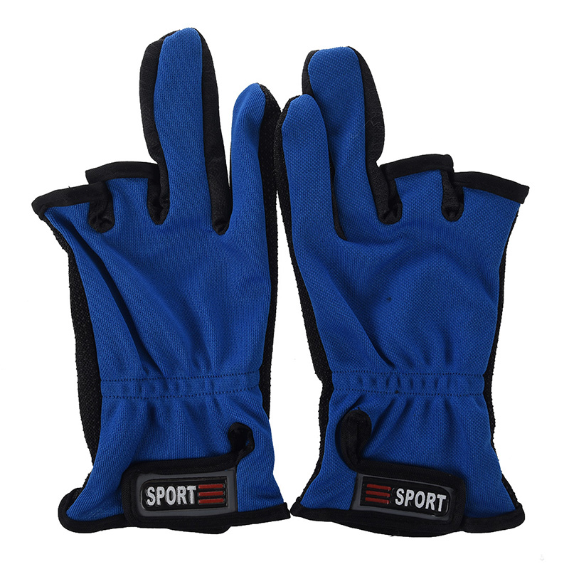 Non-Slip Friction Palm 3 Low-Cut Fingers Fishing Gloves, Adjustable Size-- Random Color