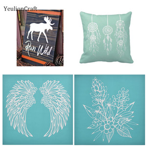 Chzimade Angel Wing Feather Printed Silk Screen Stencils Stamps For T Shirt Painting Decoration Diy Handmade Crafts