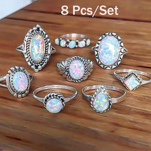 Women's Fashion Ring Set of 8 Rings Set with Natural Stone Fire Opal crystal Ring Joint Creative Good Look Ring Set кольцо #40 on AliExpress