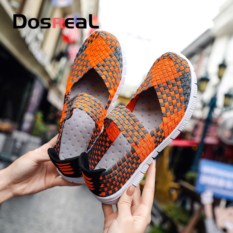 Dosreal Women New Arrival Casual Shoes Ladies Colorful Woven Shoes Light Fashion Flats Shoes Sneakers For Females
