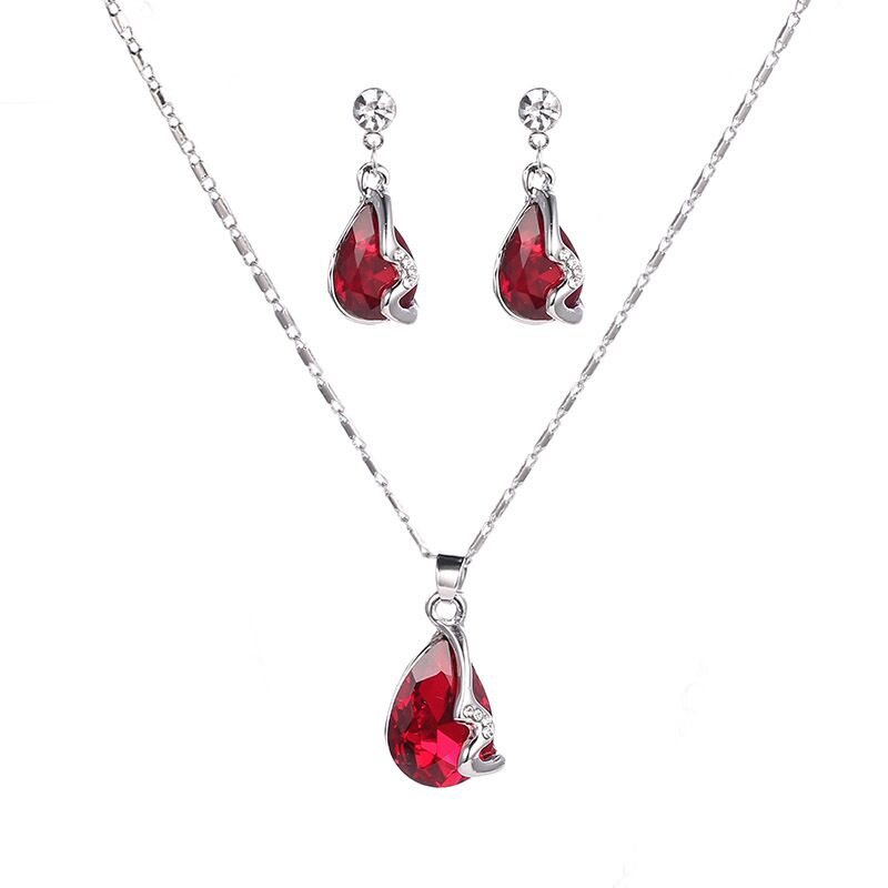 925 sterling silver necklace earrings ladies, water drops jewel red jewelry, wedding / engagement Fine jewelry set S0122