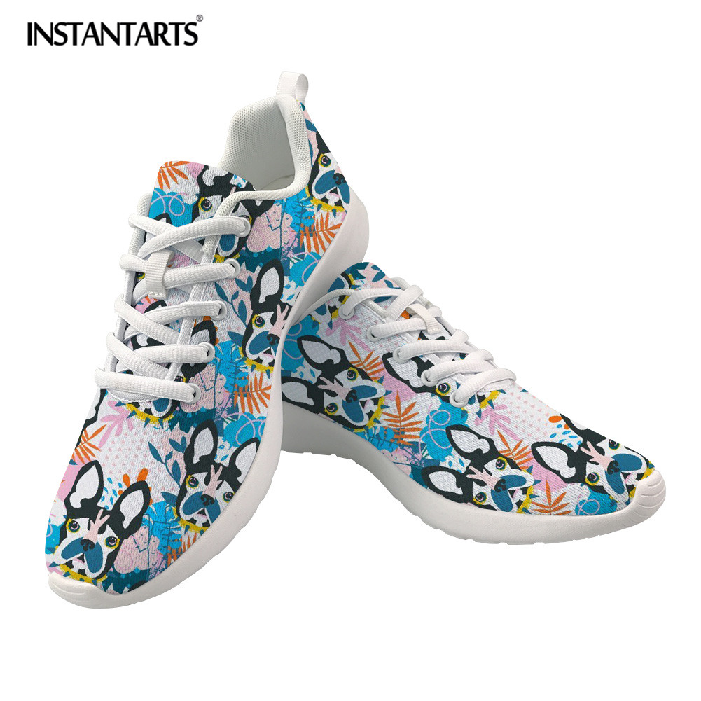New INSTANTARTS Cute Bulldog Printing Women Flats Light Mesh Spring Sneakers Casual Breathable Lace Up Vulcanized Shoes for Ladies