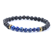 6mm Seven Colors Black Lava Stone Beads Bracelets For Women Men Elastic Hand Jewelry DropShipping