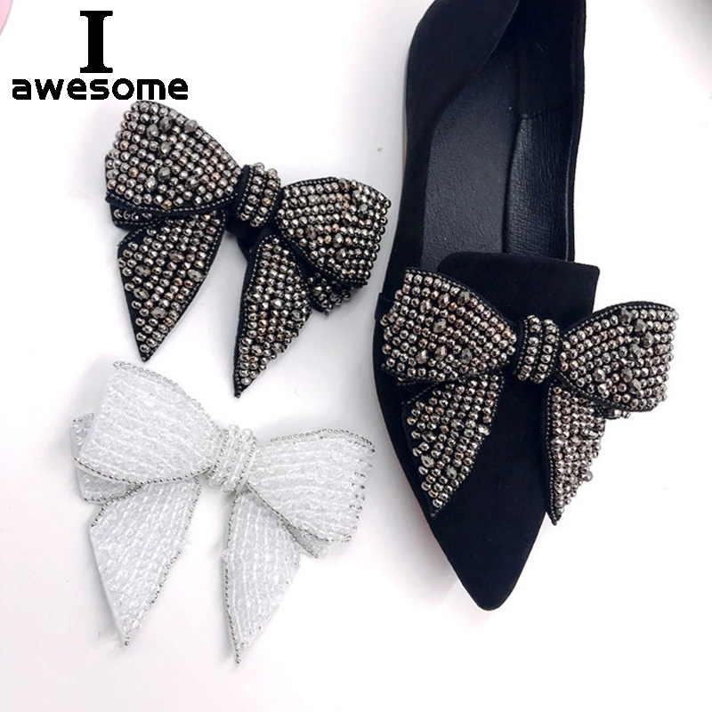 Beading Bow Rhinestone Bridal Wedding Party Shoes Accessories High Heels Sandals Boots Flats DIY Manual Shining Shoe Decorations