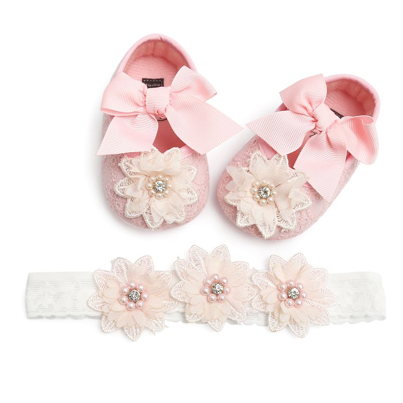 Baby Girls Shoes With Hairband For Toddler Shoes Autumn Flowers First Walkers 0-18M Baby SHoes