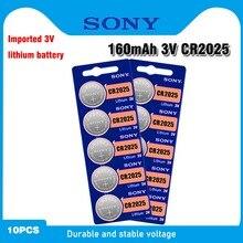Sony baterias de lítio original cr2025, baterias de botão célula cr 2025 dl2025 lm2025 3v para relógio com 10 peças balança de peso