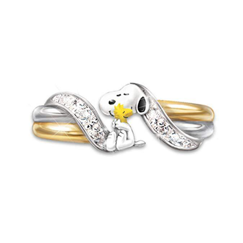 Unique Style Female Snoopy Cute Ring Luxury Fashion Yellow Gold Wedding Rings Promise Engagement Rings For Women