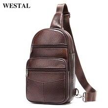 WESTAL Mens Bag Genuine Leather Sling Bags Men Messenger Crossbody Bags for Men Vintage Mens Shoulder Bag Male Chest Packs 720