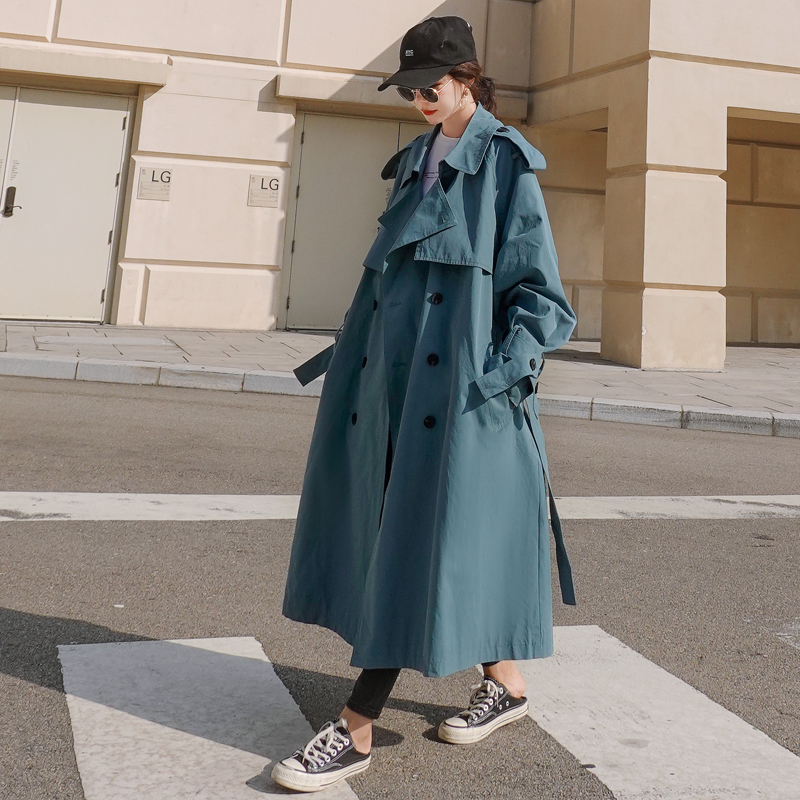 Brand New Khaki Blue Women Trench Coat Long Double Breasted Belted With Storm Flaps Spring Autumn Windbreaker Outerwear Quality