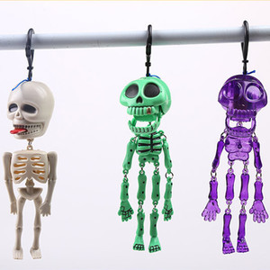 Halloween Horror Glow-in-the-dark Skeleton Spoof Toy Plastic Scary fluorescent Small Skeleton Key Chain Pull Ghost