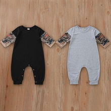 Hot Sale Tattoo Romper 2019 Fashion Baby Boy Tattoo Printed Long Sleeve Patchwork Romper Newborn Autumn Comfy Romper bebek tulum(China)