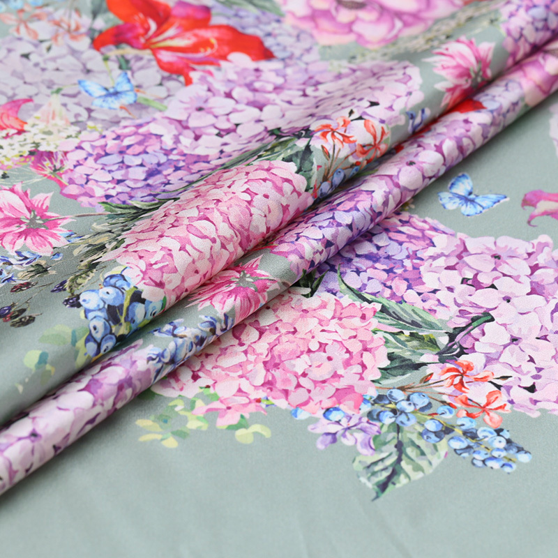 natural silk fabric Printing Mulberry Silk Elastic Satin Material The Silk Cheongsam Dress Silk Cloth