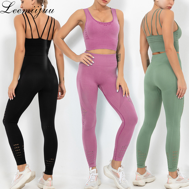 LEEMIIJUU Women Yoga Sets Breathable Solid Vest Leggings Pants Fitness Running Clothes Sexy Gym Top Sportswear Tights Tracksuit