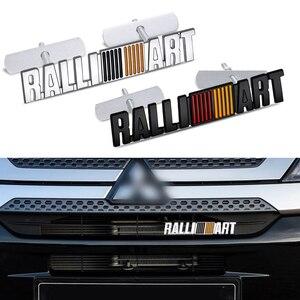 1 pçs 3d liga de alumínio ralliart emblema grade dianteira do carro corpo tronco adesivo decalque para mitsubishi lancer outlander asx concorrência