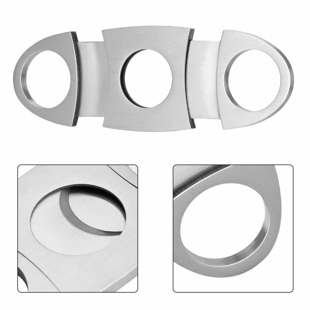 Pocket Size Classic Comfortable Grip Stainless Steel Double Blade Cigar Cutter Knife Scissors Shears For Cigar Cutting Silver