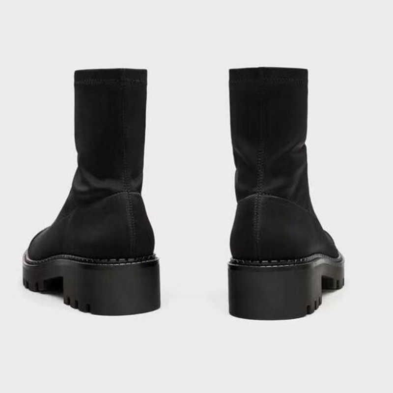 YENI Moda Kadın orta buzağı Çorap Çizme Tıknaz Orta Topuk Streç Örme Bootie Elastik Yuvarlak kafa Seksi Bayan botları Kadın y268