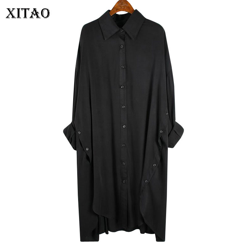 XITAO Tide Plus Size Irregular Blouse Women Clothes 2020 Spring New Turn Down Collar Full Sleeve Match All Shirt Loose XJ3909