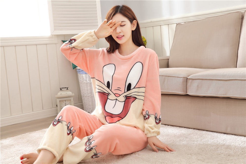 Women Pajamas Set For Autumn cute cartoon pink Women Clothes Sleepwear Nightgown For Women Long Sleeve And Pants Hot Sale pijama 63