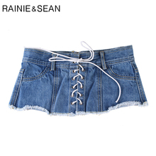 RAINIE SEAN Denim Corset Belt for Women Blue Autumn New Womens Wide Belts Lhigh Fashion Lace-up Female Cummerbunds for Shirts