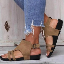 Sandalias romanas Vintage gladiador bohemio de fiesta zapatos de talla grande 35-43 Sandalias de gladiador planas de verano para Mujer gran oferta