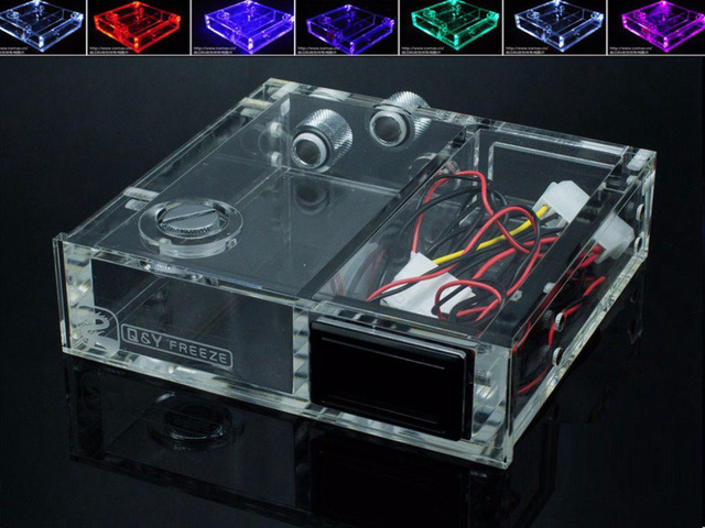 FREEZEMOD full transparent Acrylic PMMA tank single optical drive size computer water cooling tank with thermometer. GQSX D1
