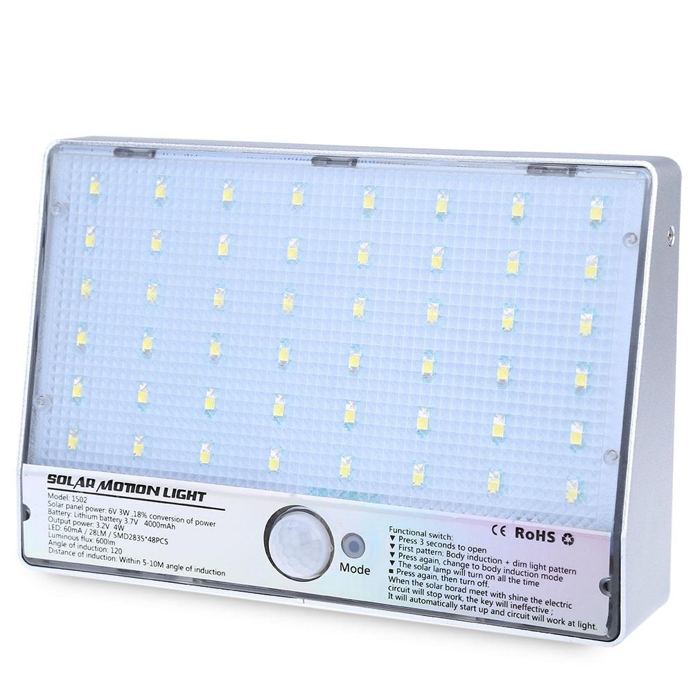 48 leds sensor de movimento movido a energia solar luz de rua de energia economia de