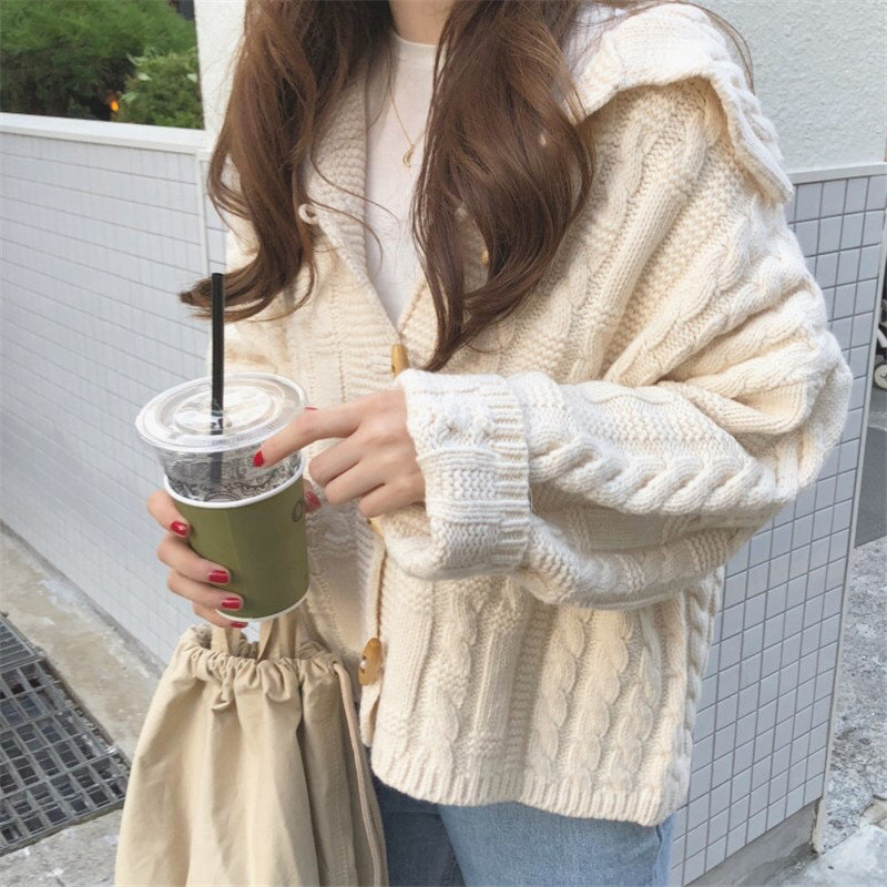 Hzirip Lazy Style Autumn Winter Elegant Women Beige Coats Femme Clothing Warm Soft Loose Cardigan Casual Sweet Knitted Sweater