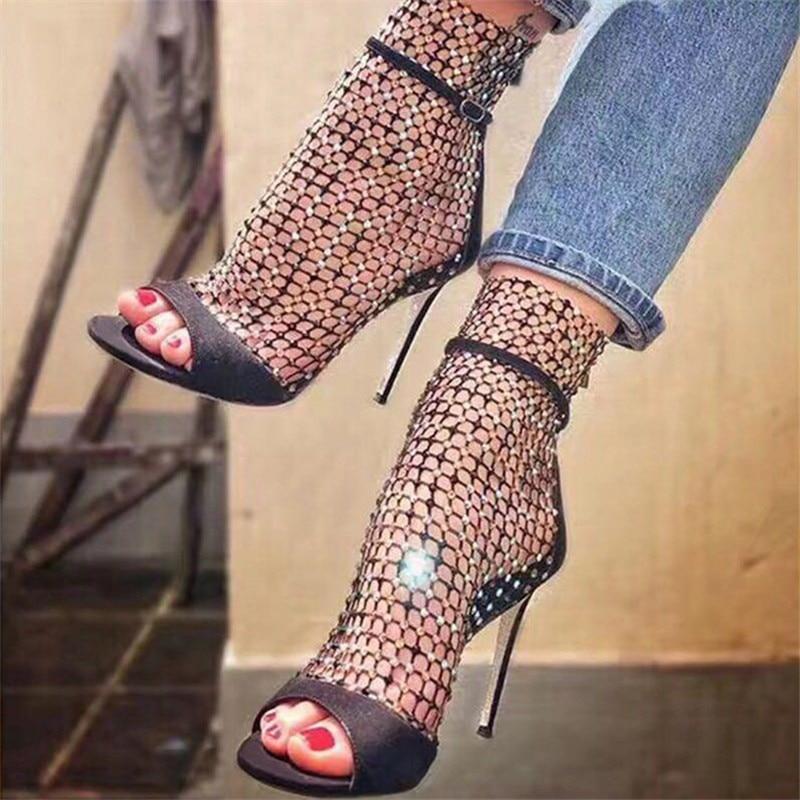 Eilyken Shoes Woman 2020 Sexy New High Heels Sandals Women Bling Rhinestone Mesh Ladies Shoes Party Peep Toe Zipper Summer Boots