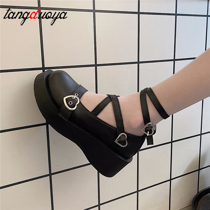 women shoes loli sweet lolita shoes platform round head thick heel cross bandage women shoes kawaii cosplay Mary Jane shoes 2021