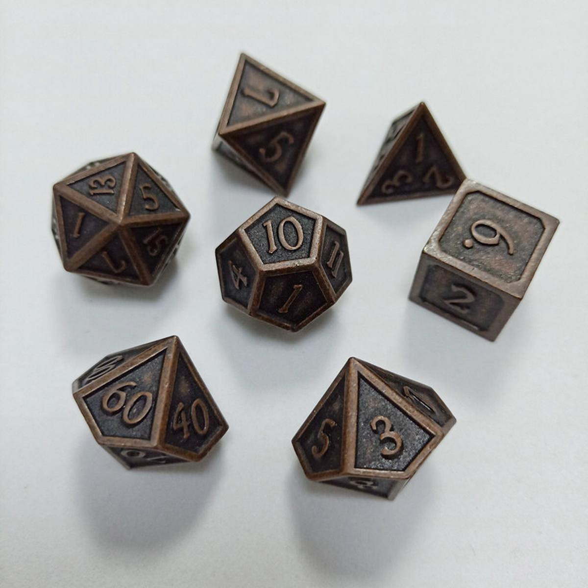 7Pcs Embossed Heavy <font><b>Metal</b></font> Polyhedral Dice Set for RPG Board Dragons Game DND RPG MTG <font><b>D20</b></font> D12 D10 D8 D6 D4 Table Board Game image