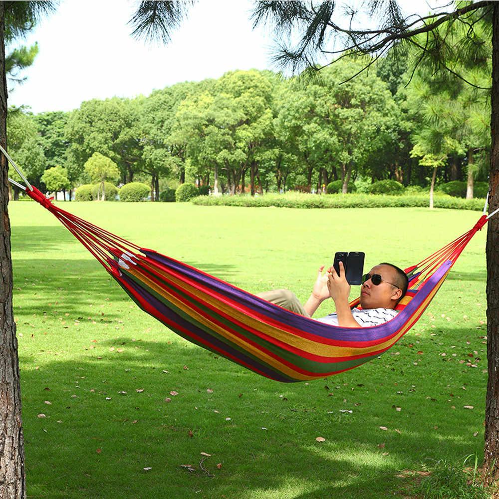 Camping Single Swing Hammock Bag Outdoor Garden Swing Bed Garden Backyard Traveling Beach Leisure Thickened Color Canvas Hammock Sleeping Bags Aliexpress