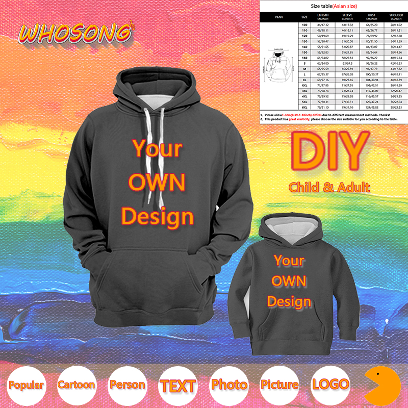 DIY WHOSONG 3D Hoodies Your Own Design Logo Picture Photo Text Sweatshirt Kids Adult Unisex Long Sleeve Pullover Popular Jacket