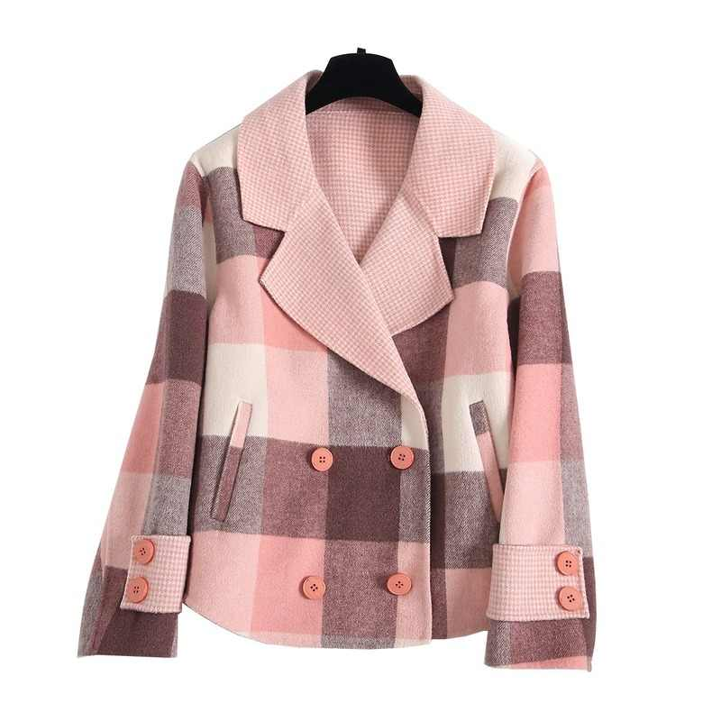Vrouwen Korte Dubbelzijdig 200% Wol Jas Koreaanse Roze Plaid Jas Overjas Abrigos Mujer Elegante 2020 CYA0280 KJ5066