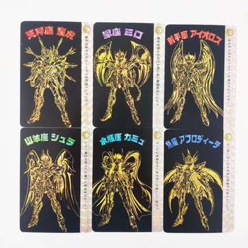 12pcs/set Saint Seiya Solid Golden Zodiac Gold Soul Hobby Collectibles Game Collection Anime Cards 12pcs set saint seiya solid gold soul dragon ball super saiyan goku hobby collectibles game collection anime cards limit