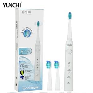 Image 3 - 4000 משיכות/דקות סוניק חשמלי מברשת שיניים USB נטענת 5 מצבים עמיד למים שן מברשות למבוגרים 2 דקות טיימר אוראלי טיפול