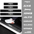 4 шт. защитные наклейки из углеродного волокна на пороги автомобиля, декоративные наклейки для Suzuki Grand Vitara Baleno SX4 Swift Jimny IGNIS ALTO Samurai