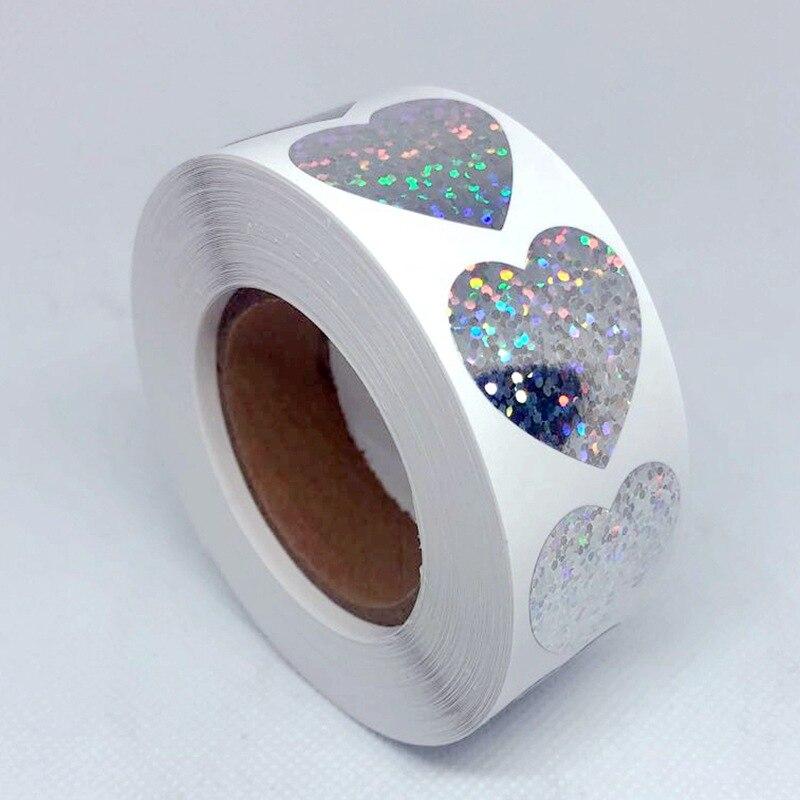 Лазерные канцелярские наклейки в форме сердца, 1 дюйм, Круглые Бумажные Клейкие наклейки, наклейки для скрапбукинга и вечеринки, ярлыки, нак...