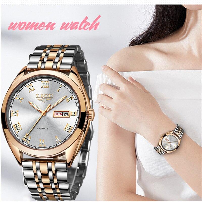 LIGE new Rose gold women watch business Quartz top watch for woman luxury brand ladies wrist watch girl clock Relogio Feminino