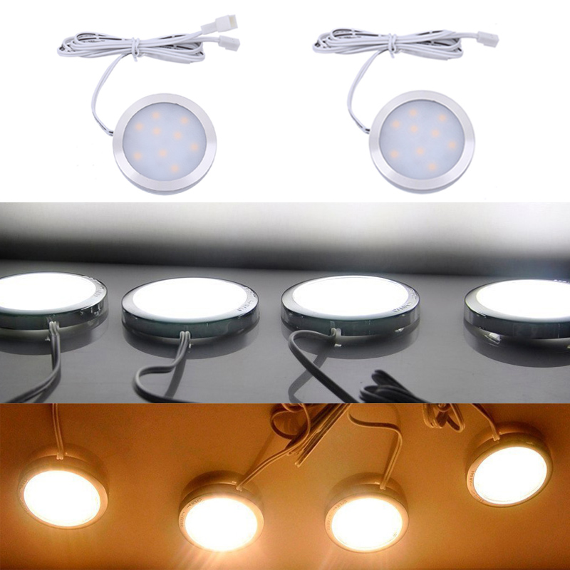 Single LED Puck Light For AIBOO Under Cabinet LED Puck Lights Lamps 12V For Kitchen Counter Closet Cabinet Lighting