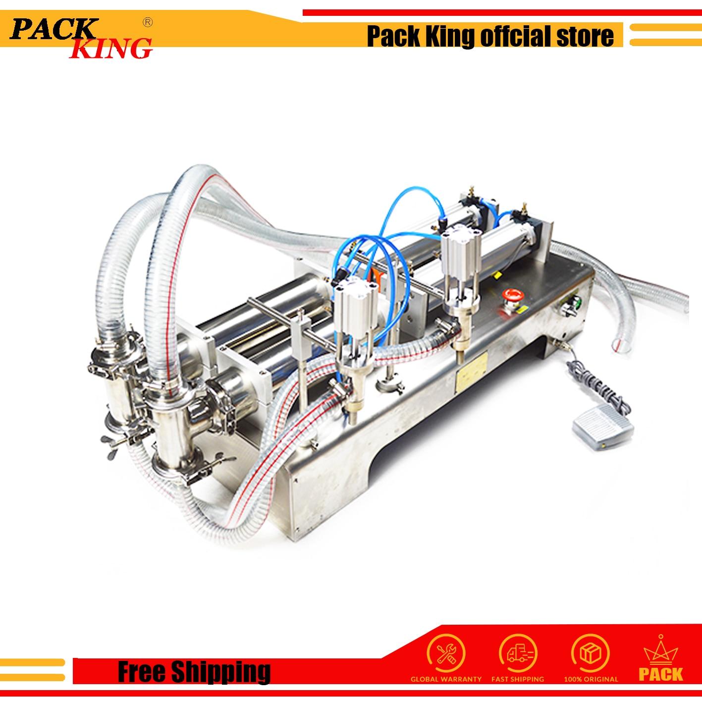 5000ml Double Heads Pistons Liquid Filling Machine Pneumatic Detergent Soya Sauce Vinegar Wine Oil Soup Semi Automatic Filler