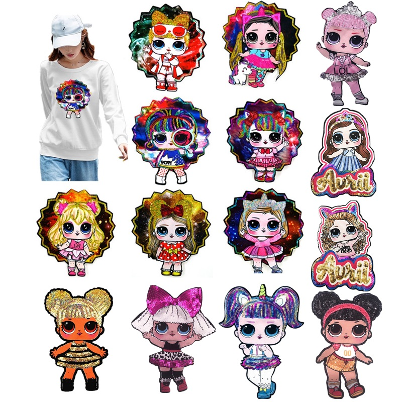 Cartoon Doll Sequin Cute Sew On DIY Hoodie Clothes Patches Stickers High Quality Child Popular Jacket Surprised Girl Toy