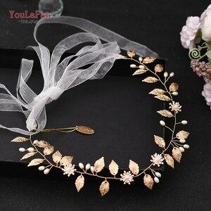 Image 5 - TOPQUEEN HP110, diadema nupcial hecha a mano, tocados de boda, joyería de flores para el cabello, accesorios para el cabello con cuentas de hojas doradas y diamantes