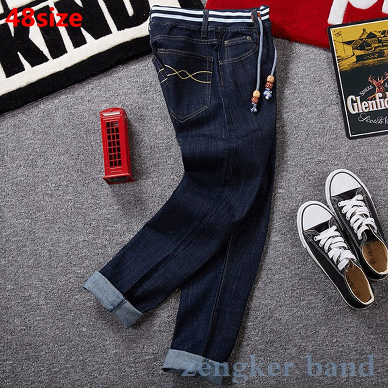 Plus Size Men's Autumn And Winter New Big Size Band Oversize High Waist Stretch Denim Large Blue Jeans 44 46 48 42