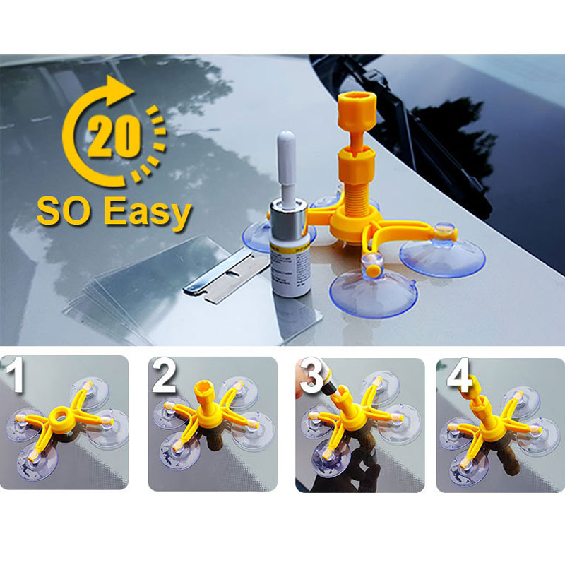 Windshield Repair Kit DIY Window Repair Tool Glass Scratching Windshield Crack Recovery Window Screen Polishing Car Shape