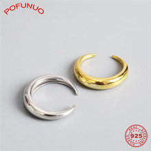 POFUNUO 925 Sterling Silver Crescent Moon แหวน Minimalist (China)
