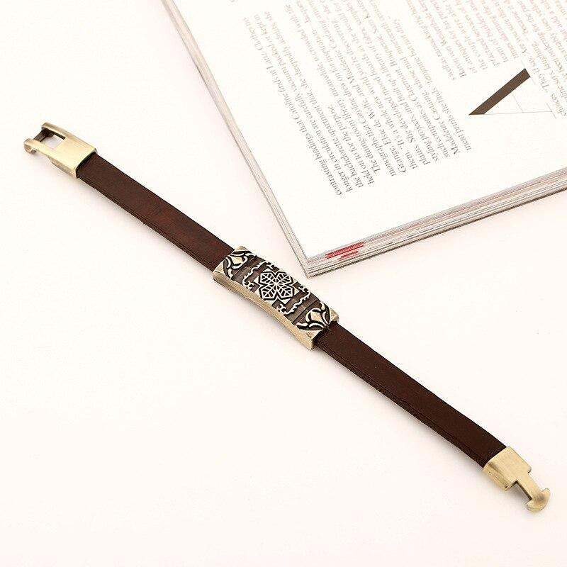 H2d9322d6cfef41e89626d697a7cc08d9o - Vintage Retro Cross Brown Genuine Leather Cuff Bracelet Wristbands Metal Bronze Charm Bangle Wrap Women Men Punk Fashion Jewelry